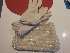 op shop beaded purse and gloves